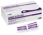 LORIS™ BZK  Antiseptic Topical Skin Wipe 20x13 cm - Single Packs (100/Box)